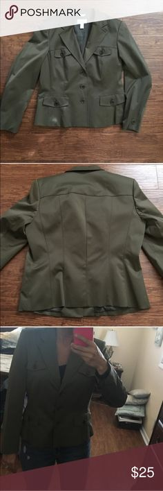 Military green blazer jacket. never worn. Olive green blazer from talbots. This is a great jacket and I hate to part with it. But I gotta clear out my real closet lol. 🚫Size 12 but fits like an 8-10🚫. Looks great with boyfriend jeans...dress up with pumps or keep it casual with flats Talbots Jackets & Coats Blazers