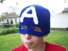 Captain America Crochet Mask
