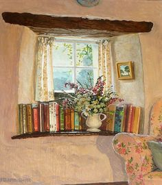 A little corner in my cottage to read the day away.'The Inglenook Window' by contemporary English Impressionist Stephen Darbishire Creation Photo, Reading Art, Reading Books, Art Et Illustration, Book Nooks, I Love Books, Impressionist, Book Art, Art Drawings