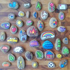 Hand Painted Story Stones Standard Set 20 by TheSweeterSideMom these would be fun for creative center play! Pebble Painting, Pebble Art, Stone Painting, Diy Painting, Cactus Painting, Pumpkin Painting, Food Painting, Painting Tutorials, Kids Crafts