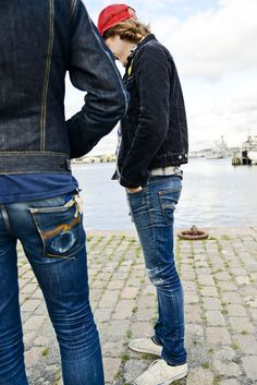 Worn in by Alexander & Jacob - Nudie Jeans Raw Jeans, Raw Denim, Lässigen Jeans, Love Jeans, Jeans Style, Mens Casual Jeans, Casual Wear For Men, Stylish Mens Outfits, Edwin Jeans