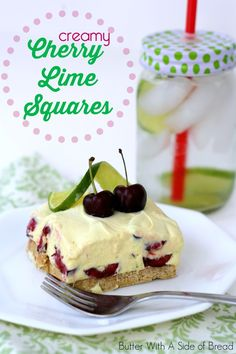 Creamy Cherry Limeaid Squares ~ Butter With A Side of Bread #recipe #dessert