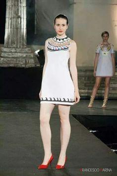 Runway roman mosaic dress