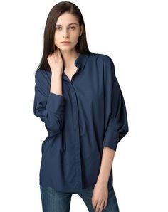 #AdoreWe #VIPme Blouses & Shirts - SAINTY Dark Blue Half Sleeve Plain Casual Oversized Shirt - AdoreWe.com
