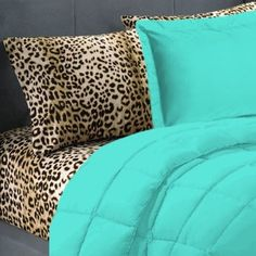 5 Piece Turquoise Leopard Twin Extra Long Bedding Set: Home & Kitchen. Different accent color Twin Xl Bedding Sets, Twin Xl Sheets, Aqua Bedding, Twin Xl Comforter, Bed Sheets, Leopard Bedding, Turquoise Bedding, Cheetah Bedroom, Leopard Room