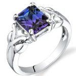 Peora Simulated Alexandrite Ring Sterling Silver Rhodium Nickel Finish 2.75 Carats Sizes 5 to 9