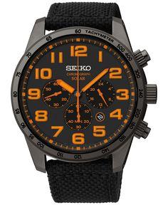 Seiko Men's Chronograph Solar Black Nylon Strap Watch 45mm SSC233 - Watches - Jewelry & Watches - Macy's