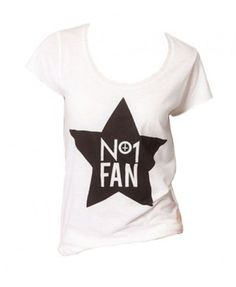White Short Sleeve T-shirt with Star Print
