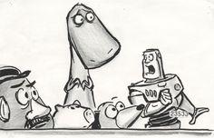 Preliminary sketches, poor Rex already looks anxious.