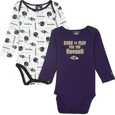 Gerber Baltimore Ravens Infant 2-Pack End Zone Long Sleeve Onesies - Purple/White