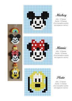 Mickey, Minnie and Pluto hama perler beads pattern - perles à repasser… Pearler Bead Patterns, Bead Loom Patterns, Perler Patterns, Pearler Beads, Beading Patterns, Jewelry Patterns, Bracelet Patterns, Art Patterns, Beading Ideas