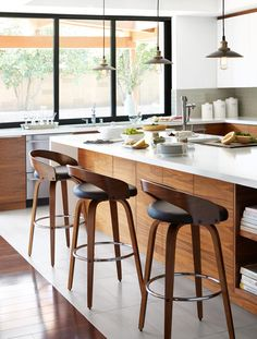 Black Leather Bar Stool With Back  Walnut Wood  Article Sede Classy Counter Stools For Kitchen 2018