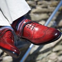 Add some colour into your wardrobe this summer with our stunning red burnished calf gibson brogues, Brando. herringshoes.co.uk/herring/Brando #herringshoes #brogue #red #calf #burnished #gibson #derby #colour #summer #bostonjeans #baloosocks #instashoe #instastyle #laces #fashion #menshoes #menstyle #dapper #british #brando