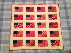 Small Quilts and Doll Quilts: inspiration was a Feedsack Flags small quilt in the book Patriotic Little Quilts, by Alice Berg, Sylvia Johnson, and Mary Ellen VonHolt, page 43: