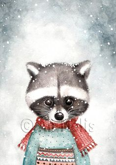 Nieuwjaarsbrief An Melis Winter Illustration, Christmas Illustration, Cute Illustration, Christmas Drawing, Christmas Art, Winter Painting, Paint And Sip, Christmas Animals, Vintage Christmas Cards