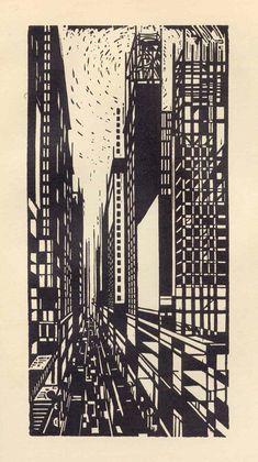 "furtho: ""Max Thalmann's woodcut Skyscraper Under Construction, 1925 (via Black And White) "" Etching Prints, Linoprint, Magazine Cover Design, 3d Prints, Wood Engraving, Caravaggio, Linocut Prints, Woodblock Print, White Art"