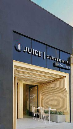 A-Industrial clads juice bar with geometric plywood juice bar design, signage design, Architecture Restaurant, Restaurant Design, Interior Architecture, Interior Cladding, Design Exterior, Facade Design, Shop Front Design, Store Design, Commercial Design