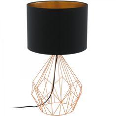 Druciana LAMPA stołowa PEDREGAL 1 95185 Eglo abażurowa LAMPKA stojąca drut czarna miedziana