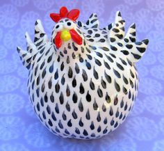 Black and white ceramic chicken Black and white by KarenFincannon