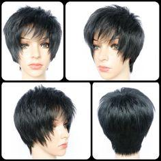 Pixie Cut Side Bang Short Straight Heat Resistant Fiber Wig