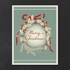 Vintage Holly Wreath - Holiday Card