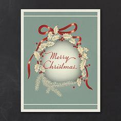 Vintage Holly Wreath - Holiday Card