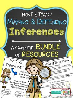 Inference Resource Bundle! Perfect for 4th and 5th grade!  Notes, Practice, Organizer for Independent Reading, Game, Quiz, and Poster (Answer Keys). $