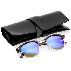 87cec057e1f Classic Horn Rimmed Neutral Colored Lens Semi-Rimless Sunglasses 49mm -  Tortoise-gold   Blue Mirror - CK12NRZT2C4