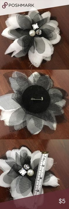 """Black & white pin Black & white with embellishments pin, wear on your blouse or attach to purse/bag to add some excitement - approx 5"""" wide Accessories"""