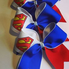 3inch BIG Handmade Superhero Superman Cheerleader Cheer Bow.Great for those themed practices or just for fun