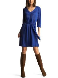 Blue Dress with Brown Boots