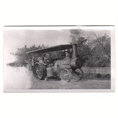 Antique Steam Powered Tractor Photo Farming Agricultural Equipment Photograph