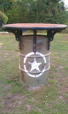 military/army themed 55 gal steel drum man cave/pub table