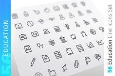 Education Line Icons Set by Voysla's Shop on @creativemarket