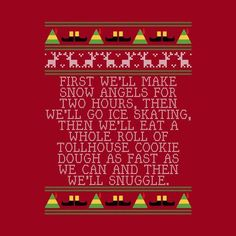 Snow Angels Elf Quote Christmas Knit