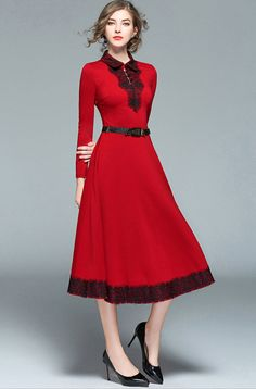 really ocol red  and black flared dress