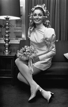 Sharon Tate in her wedding dress.
