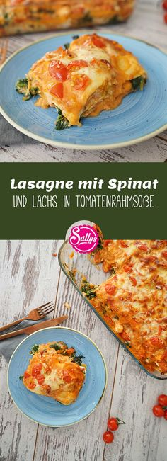Lasagna with spinach and salmon in tomato cream sauce / favorite lasagna- Lasagne mit Spinat und Lachs in Tomatenrahmsoße / Lieblingslasagne This dish is incredibly creamy and delicious. Pizza Recipes, Pork Recipes, Healthy Recipes, Salmon Recipes, Menu Dieta, Tomato Cream Sauces, Spinach Lasagna, Tomato And Cheese, No Noodle Lasagna