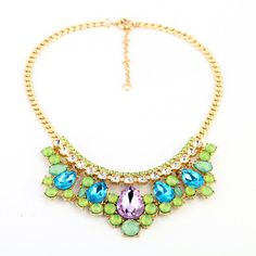 Crystal Charm Statement Necklace, Gold Plated mecklace, Collar Necklace