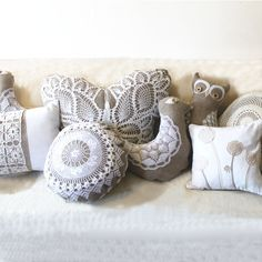 Crochet doily Owl pillow made of antique hand loomed fabric and vintage doily- decorative accent pillow. $45.00, via Etsy.