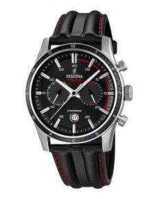 Festina F16874/4 Men's Watch Chrono Sport Black Dial Black With Red Stitching Leather Strap