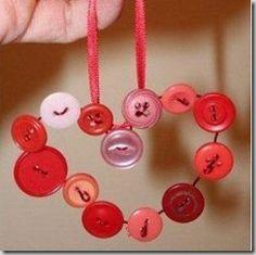 DIY kids ornaments crafts buttons heart