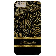 Elegant Black and Gold Damask Tropical Palms iPhone 6 Plus Case