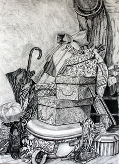 pen and ink by Ilona Mehesz Composition Art, Drawing Activities, Still Life Drawing, Object Drawing, Pretty Drawings, Ink Pen Drawings, Drawing Projects, Ap Art, Elements Of Art