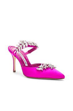 Satin Lurum 90 Heels | #heels | #heelsaddict | Pink Mules, Manolo Blahnik Shoes, Mary Jane Heels, 5 Inch Heels, Pink Silk, Designer Shoes, Heeled Mules, Stiletto Heels, Hot Pink
