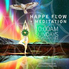 Promotion for Yoga class... graphic design... digital collage... tree pose...asana...hawk...rainbow...mountains...lake...alaska...nature..vinyasa.. eco preserve