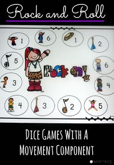 I love these dice games with the Rock and Roll theme especially since they incorporate movement!  They are perfect for math with movement!  Great for kinesthetic learners!