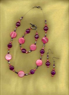 Reef  Purple and Coral Beaded Jewelry Set by sunniescustomjewelry, $49.00