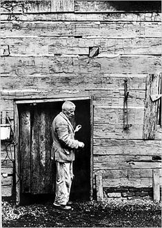 faulkner shed /// The jacket that he is wearing in this photo was on display once at UVA's library--and I overlooked it at first, thinking it was a children's jacket, it was so small. Only as I read the display closer did I realize, with a shock, that it was actually his, from this photo--guessing he stood about five foot four, or so. An impression of vulnerability I had not expected... AC
