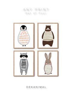 Penguin Brown Bear Racoon Rabbit art print Set of 4 by dekanimal
